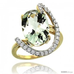 14k Gold Natural Green Amethyst Ring Oval 14x10 Diamond Accent, 3/4inch wide