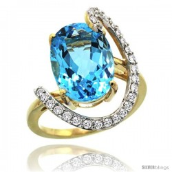 14k Gold Natural Swiss Blue Topaz Ring Oval 14x10 Diamond Accent, 3/4inch wide