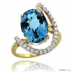 14k Gold Natural London Blue Topaz Ring Oval 14x10 Diamond Accent, 3/4inch wide