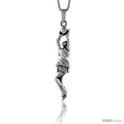 Sterling Silver Basketball Pendant, 2 3/8 in tall