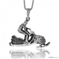 Sterling Silver Snowmobile Rider Pendant, 1 1/4 in tall