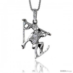Sterling Silver Skier Pendant, 1 1/4 in tall