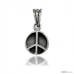 Sterling Silver Peace Sign Pendant, 3/4 in tall -Style Pa59