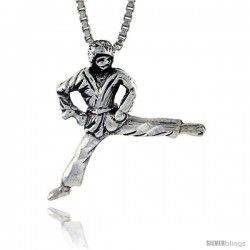 Sterling Silver Judo / Karate Pendant, 3/4 in tall -Style Pa592