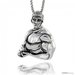 Sterling Silver Body Builder Pendant, 1 in tall