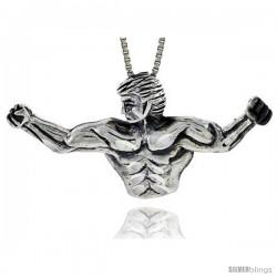 Sterling Silver Body Builder Pendant, 2 3/16 in. X 1 in