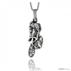 Sterling Silver Cyclist Pendant, 1 1/16 in tall