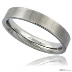 Surgical Steel 4mm Wedding Band Thumb Ring Comfort-Fit Matte Finish