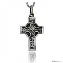 Sterling Silver Celtic Cross Pendant, 0.95 in long