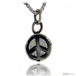 Sterling Silver Peace Sign Pendant, Tiny 5/8 in tall