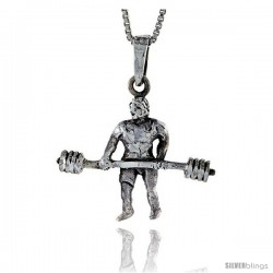 Sterling Silver Weightlifter Pendant, 1 3/8 in wide