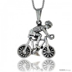 Sterling Silver Cyclist Pendant, 1 1/4 in wide