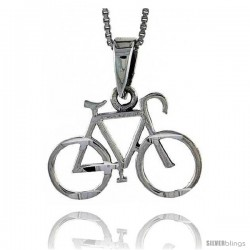 Sterling Silver Bicycle Pendant, 1 1/16 in