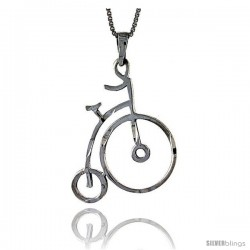 Sterling Silver Bicycle Pendant, 1 1/2 in