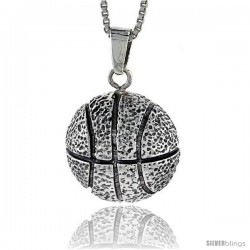 Sterling Silver Basketball Pendant, 1 1/16 in