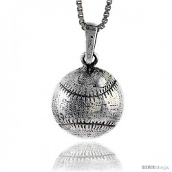 Sterling Silver Baseball Pendant, 1 in