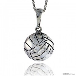 Sterling Silver Volleyball Pendant, 7/8 in
