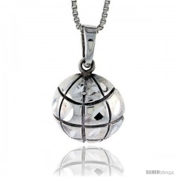 Sterling Silver Basketball Pendant, 7/8 in