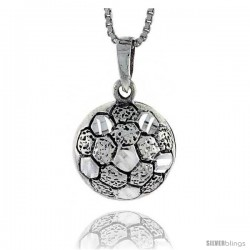 Sterling Silver Soccer Ball Pendant, 7/8 in