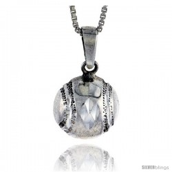 Sterling Silver Baseball Pendant, 3/4 in -Style Pa614