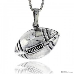 Sterling Silver Football Pendant, 3/4 in