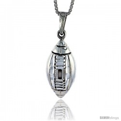 Sterling Silver Football Pendant, 1 1/8 in