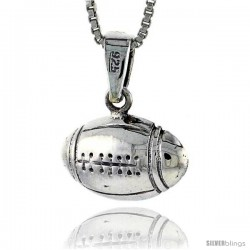 Sterling Silver Football Pendant, 3/4 in -Style Pa619
