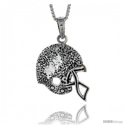 Sterling Silver Football Helmet Pendant, 1 1/16 in
