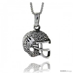 Sterling Silver Football Helmet Pendant, 1 in -Style Pa622
