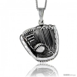 Sterling Silver Baseball Glove and Ball Pendant, 1 1/4 in