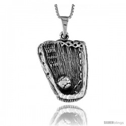 Sterling Silver Baseball Glove and Ball Pendant, 1 1/4 in -Style Pa625