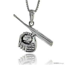 Sterling Silver Baseball Glove and Bat Pendant, 1 1/8 in