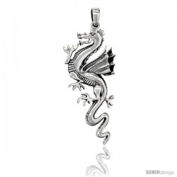 Sterling Silver Chinese Dragon Pendant, 2 1/2 in tall