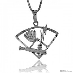 Sterling Silver Baseball Pendant, 1 1/8 in -Style Pa630