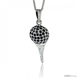 Sterling Silver Golf Ball on Tee Pendant, 1 1/4 in