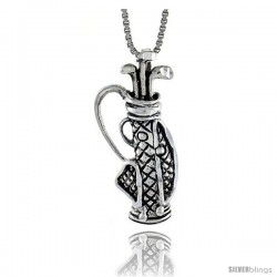 Sterling Silver Golf Bag Pendant, 1 1/8 in