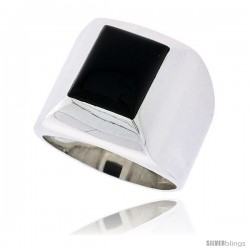 "Sterling Silver Gents' Ring w/ a Rectangular Jet Stone, 3/4"" (19 mm) wide"
