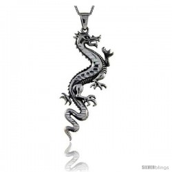 Sterling Silver Chinese Dragon Pendant, 2 1/2 in tall -Style Pa64