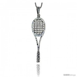 Sterling Silver Tennis Racquet Pendant, 2 3/8 in