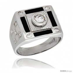 Sterling Silver Men's Solitaire Rectangular Ring Brilliant Cut Cubic Zirconia Stone, 15mm (9/16 in) wide