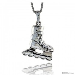 Sterling Silver Roller Blades Pendant, 1 1/16 in