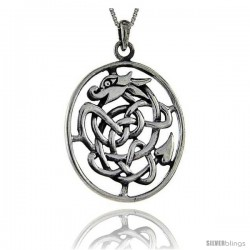 Sterling Silver Celtic Dragon Pendant, 2 in tall