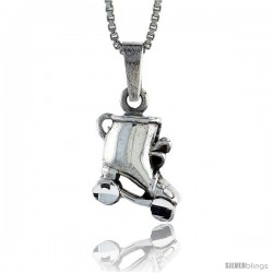 Sterling Silver Roller Skates Pendant, 3/4 in -Style Pa651