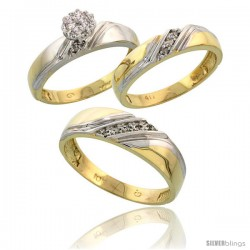 10k Yellow Gold Diamond Trio Engagement Wedding Ring 3-piece Set for Him & Her 6 mm & 4.5 mm wide 0.10 cttw Brilliant Cut