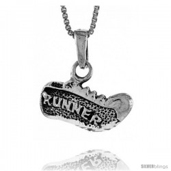 Sterling Silver Running Shoe Pendant, 5/8 in