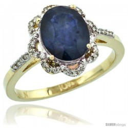 10k Yellow Gold Diamond Halo Blue Sapphire Ring 1.65 Carat Oval Shape 9X7 mm, 7/16 in (11mm) wide