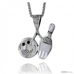 Sterling Silver Bowling Pendant, 3/4 in