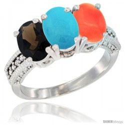 10K White Gold Natural Smoky Topaz, Turquoise & Coral Ring 3-Stone Oval 7x5 mm Diamond Accent