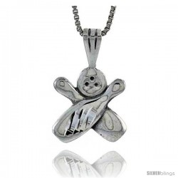 Sterling Silver Bowling Pendant, 1 in