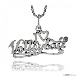 Sterling Silver I Love Volleyball Talking Pendant, 1 1/16 in wide